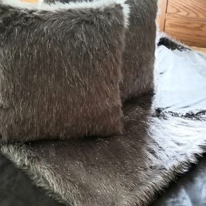 Faux Fur Throw with Two Square Matching Pillows